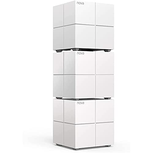Tenda Nova MW6 3x echtes Dual-Band Mesh WLAN Komplettlösung (Bis zu 500m² WLAN, 3x Stationen, 6x Gigabit Ports, für Häuser, Büros, Wohnungen, MU-MIMO, Beamforming), Powerline & Repeater