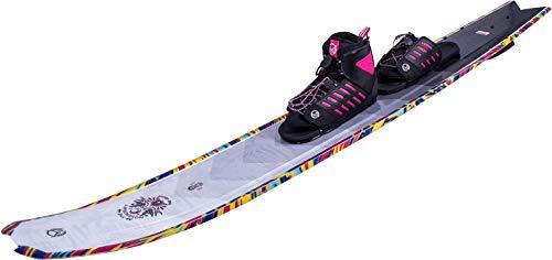 HO Hovercraft Womens Slalom Ski 65 W/Freemax/Art Bindings Womens Grey/Floral (5.5-9.5)
