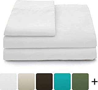 Cosy House Collection Luxury Bamboo Bed Sheet Set - Hypoallergenic Bedding Blend from Natural Bamboo Fiber - Resists Wrinkles - 4 Piece - 1 Fitted Sheet, 1 Flat, 2 Pillowcases - Queen, White