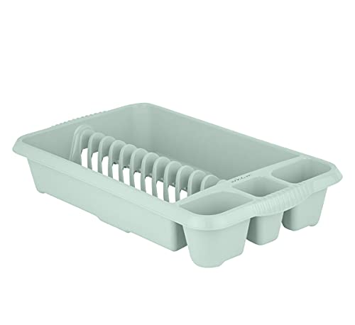 Wham Silver Sage High Grade 47x27cm Plastic Dish Drainer Plate and Cutlery Rack Holder