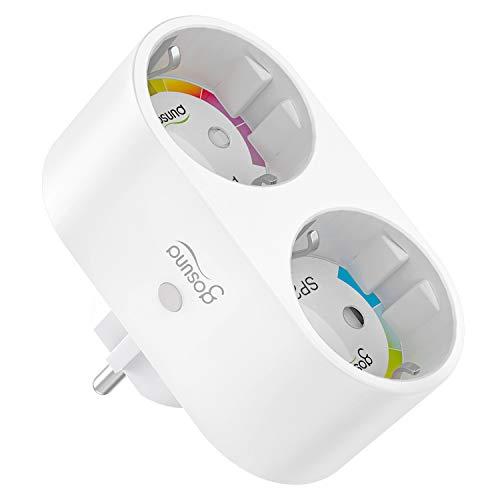 Gosund WLAN Steckdose Schutzkontakt, Smart Steckdose Plug funktionieren mit Alexa Google Home, APP Steuerung Stromverbrauch messen Timer, 2 in 1 Mehrfachsteckdose für Hause, Reise, Büro, 2.4 GHz WiFi