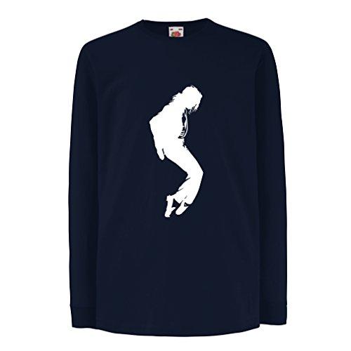Kinder-T-Shirt mit Langen Ärmeln Ich Liebe MJ - Fanclub Kleidung, Konzert Kleidung (9-11 Years Blau Weiß)