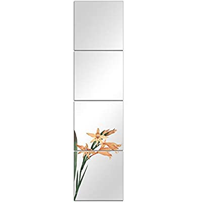 DH Full Length Mirror Tiles - 12 Inch x 4Pcs Frameless Self Adhesive Glass Mirror Sheets, Wall Mirror Stickers for Home Wall Decor