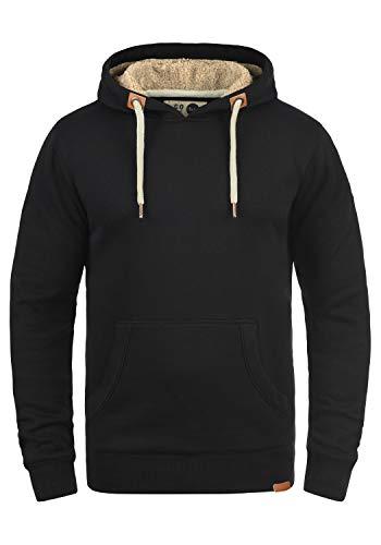 !Solid TripHood Pile Herren Kapuzenpullover Hoodie Sweatshirt Mit Teddyfutter Meliert, Größe:L, Farbe:Black Pil (P9000)