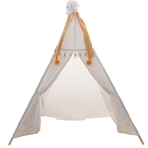 Fnho Tienda Tipi Interior y Exterior para niños,Castle Carpa Toy Play Tent Portable Plegable,Tienda de campaña para niños Indios con borlas, casa de muñecas, Blanco, 1,2 x 1,2 x 1,6 m