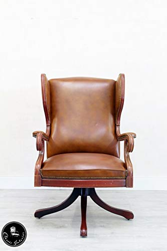 Classic Interior Chesterfield Stuhl Bürostuhl Sessel Englisch Chippendale Leder