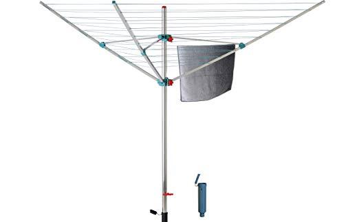 BLOME Wäschespinne Alustar XL - Wäscheständer inkl. Bodenhülse zum Einbetonieren, Wäscheschirm mit 40m Wäscheleine, Made in Germany