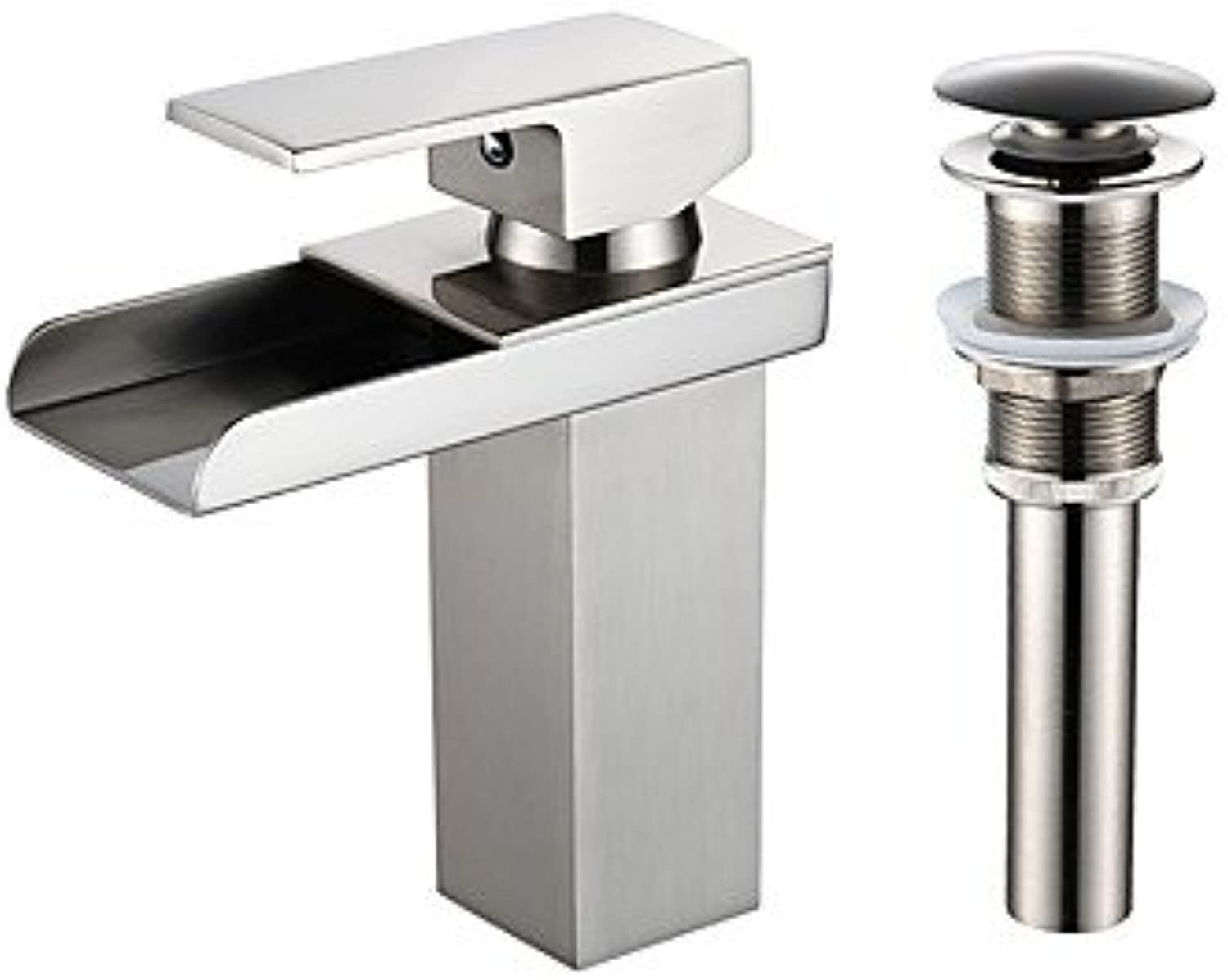 HZZymj-Centerset Waterfall with Ceramic Valve One Hole for Nickel Brushed , Bathroom Sink Faucet