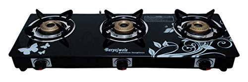 SuryaJwala Auto Ignition Toughened Glass Cast Iron 3 Burner Gas...