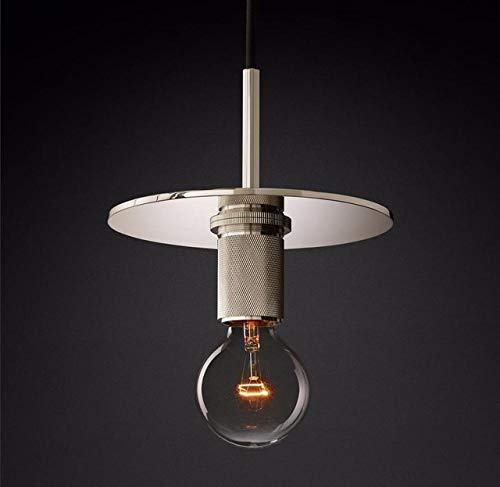 American Rh Lamp Edison E27 G80 LED lámpara de lámpara de lámpara de lámpara de lámpara de colgando/negro/plata Lámpara de vidrio de metal LED (Body Color : E)
