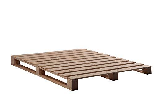 moebel-eins PALETTI Massivholzbett Holzbett Palettenbett Bett aus Paletten in 160 x 200 cm Rustikal gebeizt, 160 x 200 cm