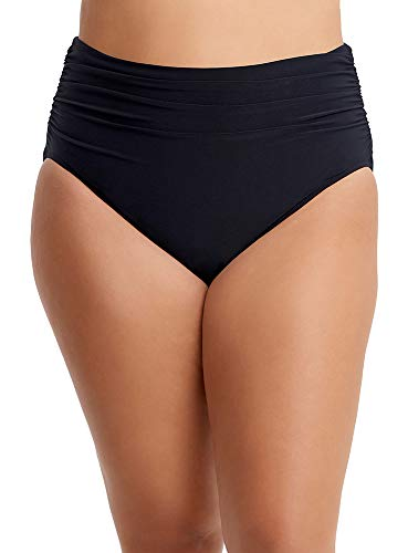 Magicsuit Women's Fabric Shirring Jersey Brief Swim Bottom with Full Coverage and No-Show Waistline, Black, 16