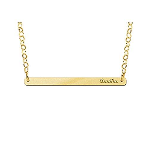 Naamforever naamketting met gravure - kleine rechthoekige hanger met uw naam incl. ketting van goud