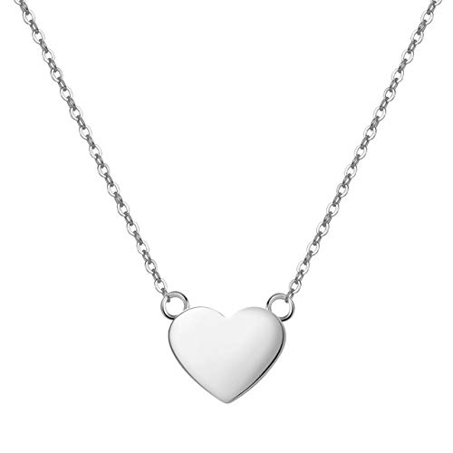 URBANHELDEN - Süße Herz Kette - Damenkette mit Herzchen - Schmuck Halskette Edelstahlkette - Herzkette Schmuck - Damen Collier Herz Basic Mini Silber