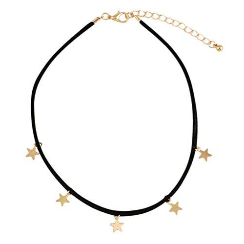 Holibanna Collar de Cadena de Clavícula de Estrella Collar de Gargantillas de Joyería Collar de Cadena de Cuero para Mujeres Damas