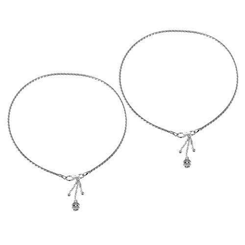 Cavigliera catena Sterling Bracciale Piedi d'argento per le donne da 10 pollici coppia