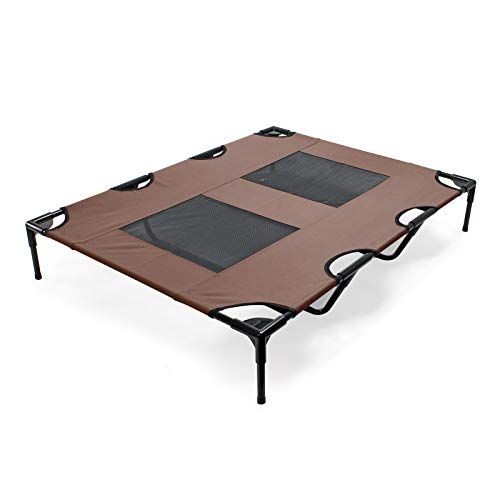 WilTec Lit de Camp pour Chien Outdoor Lit surélevé Chat XL 122x93x20cm Marron Tissu Oxford Jusqu'à 30kg