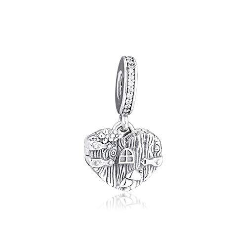 Pandora 925 Charm Cuentas De Plata Charm Cuelga Pulseras De Ajuste Para Mujer Hogar Dulce Corazón Original Para Hacer Joyas Berloque