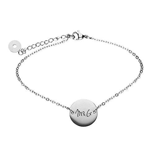 URBANHELDEN - Armband mit rundem Anhänger und Wunschgravur - Damen Schmuck Verstellbar, Edelstahl - Armschmuck Armkette Gravur Initialen - Silber G17