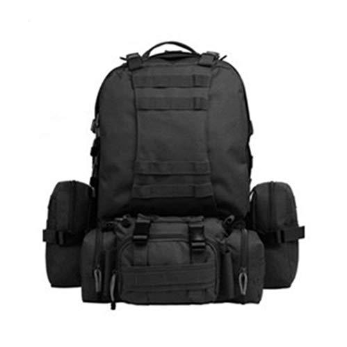iDream Militär Armee Wanderrucksäcke Rucksack 45L-60L 900D Nylon mit wasserdichter und langlebigen multifunktionale Reisetasche Tasche Wandern / Sport / Reisen Molle Design - mit zusätzlicher Tasche (schwarz)