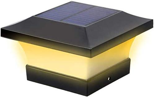 Lot de 4 lampadaires solaires /à LED /étanches pour jardin ext/érieur carr/é noir pour poteaux en bois 4 x 4 blanc chaud 3000 K, 4 pi/èces cl/ôture terrasse patio