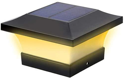 Solar-LED-Pfostenleuchten für den Außenbereich, Garten, wasserdicht, quadratisch, schwarz, für 4 x 4 Holzpfosten, Deck, Terrasse, Zaun (Warmweiß 3000 K)