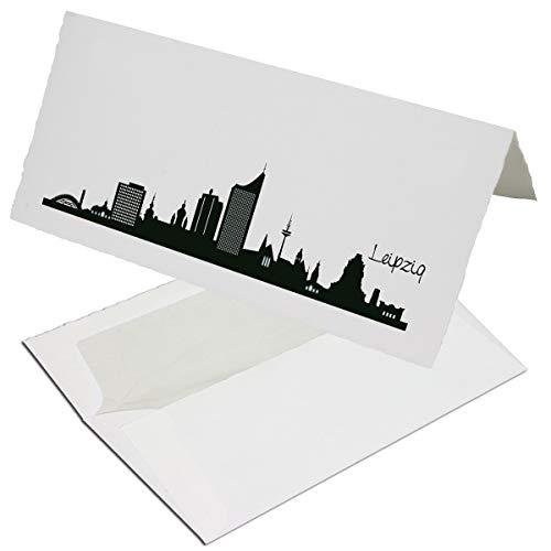 10 Sets DIN Lang Karten mit Umschlägen mit schwarzer Skyline von Leipzig - auf echtem Büttenpapier - Doppelkarten-Set DIN Lang - 10 x 21 cm