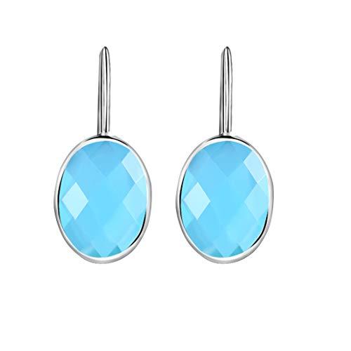 Klassische Wasser Tropfen Himmel Blau Achat Ohrringe Solide MetJakt 925 Sterling Silber Ohrring für Dame Hochzeitsparty Edlen Schmuck (Blau)