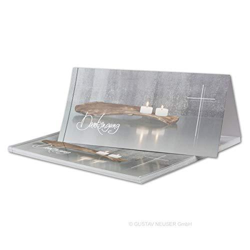 15x Danksagungskarten Trauer DIN LANG - Doppelkarten aufklappbar - Trauerkarten mit Motiv Kerzen auf altem Holz mit DANKSAGUNGS Schriftzug - würdevolle Dankeskarte