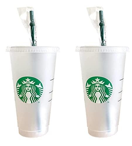 Starbucks - Confezione da 2 bicchieri riutilizzabili Venti con coperchio e cannuccia verde con tappo