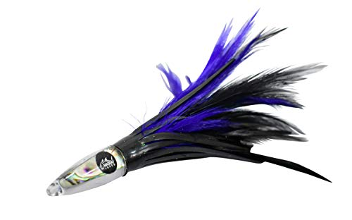 """MagBay Premier 6"""" Tuna Feather Lures - Trolling Feathers (Purple Black)"""