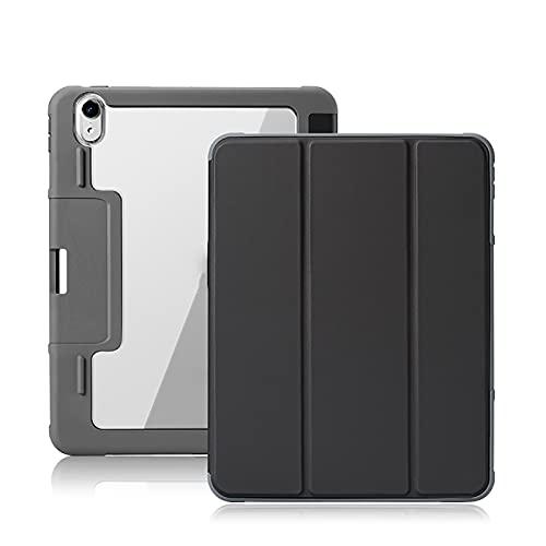 WYZDQ Funda para iPad Pro De 11 Pulgadas 2021 [Soporte Triple Delgado + Activación/Suspensión Automática Inteligente], Cubierta Trasera Transparente De Protección Dura para PC,Negro