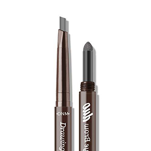 Allbesta 2-in-1 Automatisch Augenbrauenstift Wasserfest Make-up Langlebig Schwarz Grau Braun Brow Puder