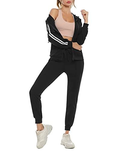 N/C Completi Donna Sportivi Tuta da Ginnastica Donna Casual Due Pezzi Completo Sportivo con Cappuccio Elastico da Lungo alla Moda da Palestra, Jogging