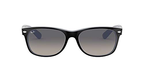 Ray-Ban New Wayfarer Gafas de sol, Matte Black on Opal Ice, 55 para Hombre