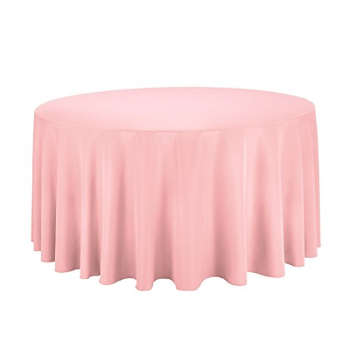 "Gee Di Moda Tablecloth - 120"" Inch Round Tablecloths for Circular Table Cover in Pink Washable Polyester - Great for Buffet Table, Parties, Holiday Dinner & More"