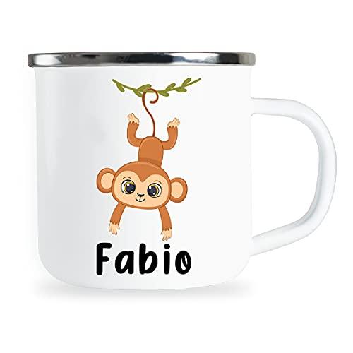 Taza personalizable para niños con nombre y monos divertidos, esmaltada, regalo individual para niña o niño