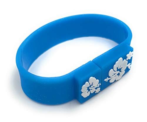 Onlineworld2013 Braccialetto Band Loop Hibiscus Flower Blue Divertente USB Stick 8 GB USB 2.0