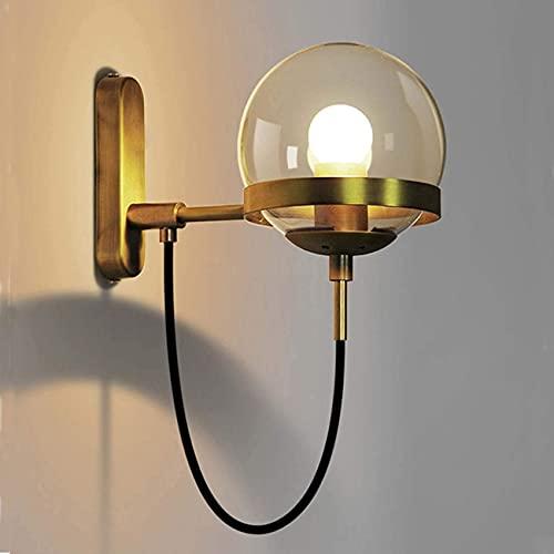 YANSW Lámpara de pared Aplique de pared Aplique de pared, Moderno Ssingle Head Globe Pantalla de vidrio Latón Adecuado para sala de estar Cocina Comedor,Oro,2 piezas