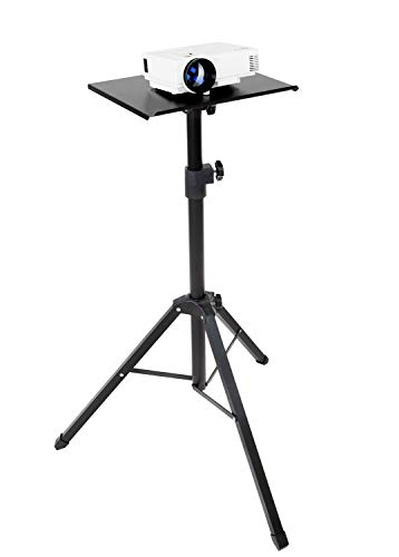 Mount-It! Tripod Projector Stand, Adjustable DJ Laptop Stand with Height and Tilt Adjustment, Portable Laptop Projector Table with Steel Tripod Base and Tray, Black