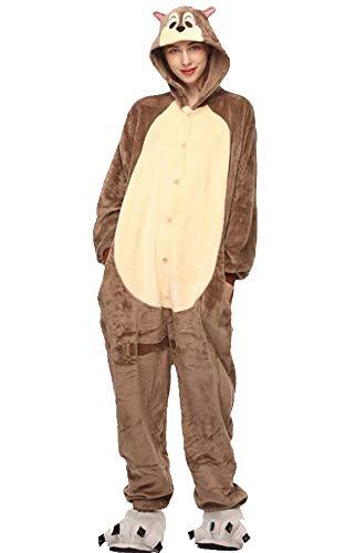Unisexo Comodidad Suave Franela Disfrace Animales Kigurumi Traje de Dormir Cosplay Ropa de Salón Pijamas Adulto Animal para Niños Niñas Anime Fiesta (Ardilla, XL)