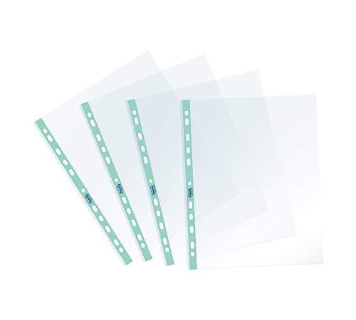 Favorit Buste Perforate, Lucide, Alto Spessore, 22 x 30 cm, 25 Pezzi, Trasparenti con Banda Colorata Azzurro Pastello