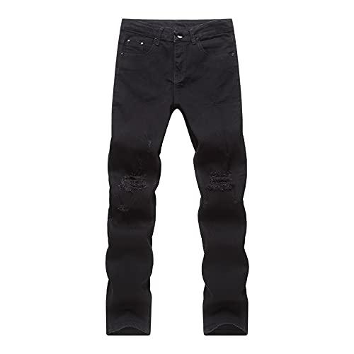 AIAT Jeans Vintage Uomo Pantaloni Uomo Jeans Skinny Slim Fit Casual Cotone Elasticizzati Pantaloni Denim Lungo Tinta Unita Pantaloni Strappati Jeans Dritti di Stressed Jeans di Stressed Jeans