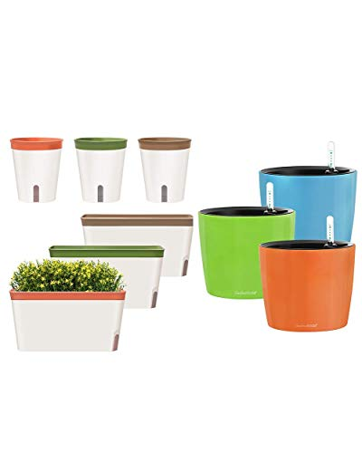 Self Watering Pots Window Box for Indoor Plants Set of 6 & 8.6' Hanging Planter with Water Level Indicator