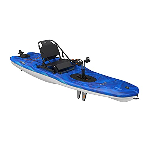 Pelican Fishing Sit-on-Top Kayak Getaway 110 HDII - Vapor Deep Blue-White - 11 feet - Pedal System, Stable and Comfortable one-Person Kayak - MHP10P101