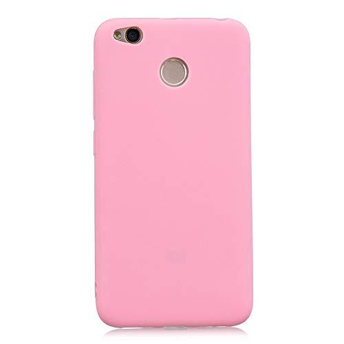 cuzz Funda para Xiaomi Redmi 4X+{Protector de Pantalla de Vidrio Templado} Carcasa Silicona Suave Gel Rasguño y Resistente Teléfono Móvil Cover-Rosa Oscuro