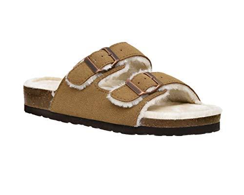 CUSHIONAIRE Women's Lane Cozy Kork-Fußbett-Sandale mit Kunstfellfutter und +Komfort, Braun (hautfarben), 36 EU