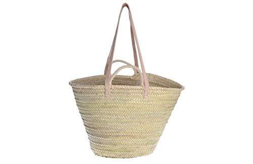Afrikan Bags - Bolso Capazo de Palma | Bolso de Palma de Base oval con Asa Bandolera y Asa Corta - 50 x 16 x 30 cm