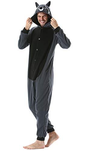 Pijama Animal Entero Unisex para Adultos con Capucha Cosplay Pyjamas Ropa de Dormir Kigurumi Traje de Disfraz para Festival de Carnaval Halloween Navidad Gris Mapache