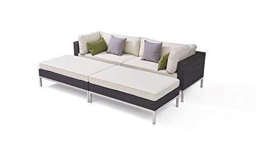 Talfa - Conjunto de muebles de jardín de polirratán y acero inoxidable, color antracita
